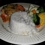 Fish, coconut rice and veggies