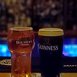 A Bulmers and a Guinness at the bar