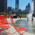 Orange seatable sculptures