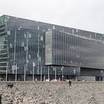 Outside view of the Harpa.