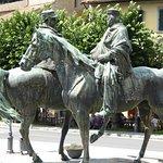 Bronze of Garibaldi meets Vittorio Emanuele II in the town square.