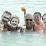 "Tourists in the Lagoon after getting drink at swim up bar and getting ""mask""."
