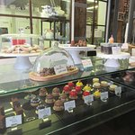 Pastry counter, kitchen in back