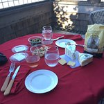 Our own snacks and wine on the balcony