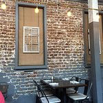 Inside the restaurant - cool brick wall