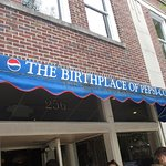 The awning announcing the Birthplace of Pepsi-Cola