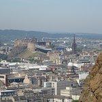 Edinburgh Castle with part of the cliffs that make Arthur's Seat
