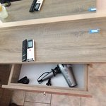 Cooking facilities and hair drier in drawer for this large apartment with great view from Terrac