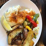 Baked Scrod, roasted potatoes and vegetables.