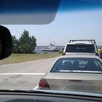 Waiting in line at Fort Fisher for the ferry.