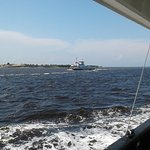 Passing the other ferry while returning from Southport.