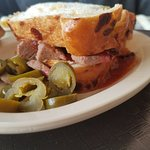 Great food. Tender brisket, creative sides. Only issue we had was a piece of ham bone in our col