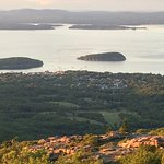 Sunset view of the town of Bar Harbor from the Cadillac Summit.