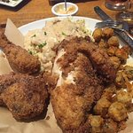 Southern fried chicken with fried okra and mashed potatoes and gravy