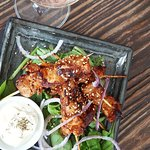 Pinchos de Pollo – Marinated chicken skewers w smoked paprika, fresh lime & spiced yoghurt.