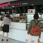 Coffee shop on observation deck of N Seoul Tower.