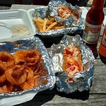 Lobster rolls, rings, fries and Foxon Park Soda. Yummm!