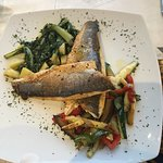 Sea bass was delicious really nice vegetables, maybe not so keen on the potatoes which were smal
