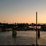 Sunset view of passerelle leopold sedar senghor