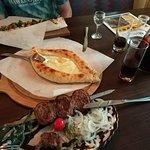Отличный обед: хачапури по-аджарски, люля с баклажанами и урама