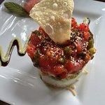 Ahi Tuna Poke Appetizer ~ layers of ahi tuna, white rice, crispy wontons, crab salad and avocado