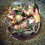 Miso Charred Salmon with Soba Noodles, Mentsuyu Dressing & Miso Mayonnaise