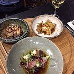The squid and salmon, plus Tuna with Ponzu Escabeche & Crème Fraîche