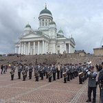 Military band playing in the Square