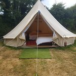 Loved the bells tents. So big with real mattresses . Can fit a family with a few beds.