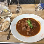 Stifado (Beef in red wine with onions and spices) and Mykonos Rice