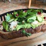 Guacamole + chicken + green apple + cucumber + cilantro toast