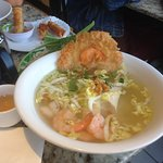the rice noodle with chicken and shrimp sate