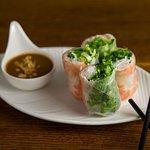 Shrimp summer rolls with peanut sauce