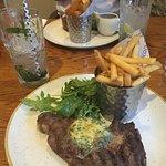 Rib eye steak, french fries & garlic butter sauce
