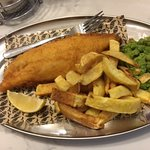 Large fish and chips...about a fork's length