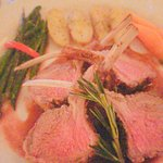 rack of lamb with fingerling potatoes and harciot verts