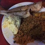Red snapper, rice and peas, potato salad and plantains