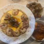 Shrimp & Cheesy Grits with Fried Okra and Sweet Potatoe souffle