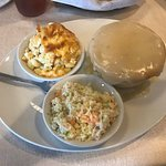 Chicken potpie, coleslaw, and macaroni and cheese.