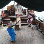 Fighting pirates.