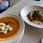 Skull Creeks red seafood chowder and fried chicken livers