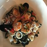 Shellfish and Black Chitarra Pasta. The pasta is made at The Lobster.