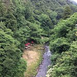 Photo of the Gorge from the Ayatori Bridge. You can see the little open air riverside cafe as we