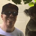 That is a picture with Oz, a koala at the zoo.