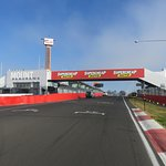 The start/finish of the famous Mount Panorama racing circuit