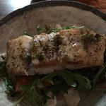 our favourite Barra with roasted root vegetables, capers..