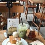 Baby size shibuya honey toast and matcha latte, great combination for me!