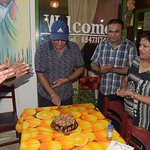 cake cutting with owner