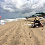 there are some tourist from japan had a surfing lesson in legian beach
