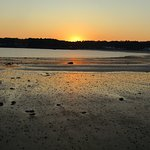 Sun going down on St Brelade's beach.